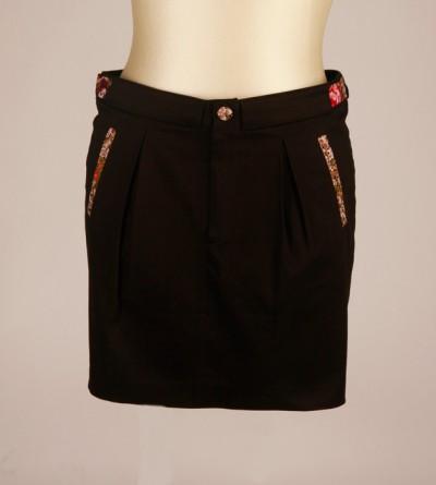 Jupe Noire Petite Taille Sokhem en Coton