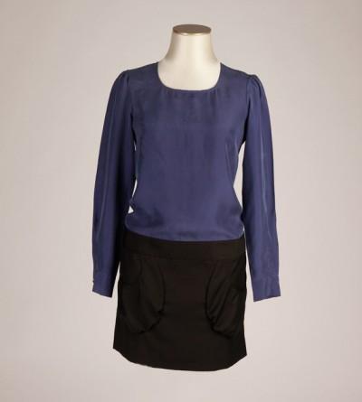 Robe Petite Taille Bayon Bleue Electrique et Noire