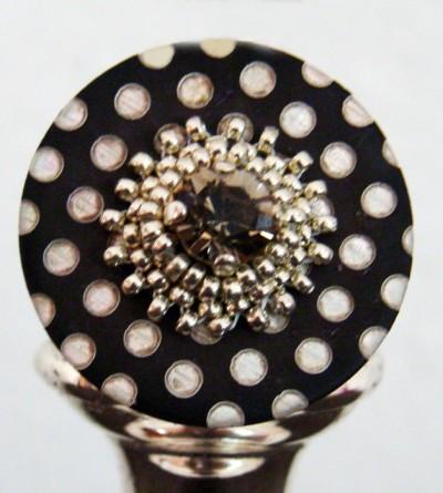 Bague Plumetis Châtaigne et Cristal de Swarovski