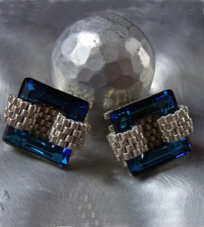 Boucles Oreilles Cuba en Cristal Swarovski Carré Bleu