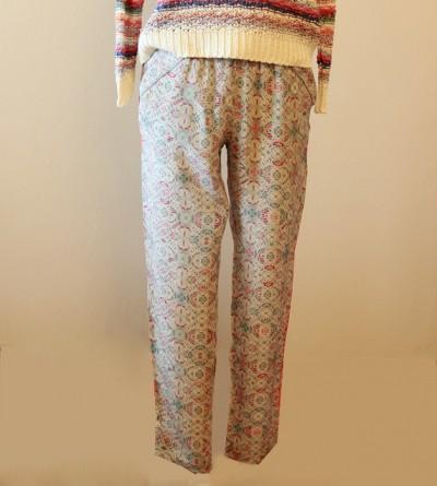 Pantalon Kulen en Crêpe de Soie Imprimé Petite Taille