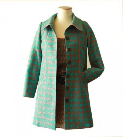 Manteau Pied de Coq Turquoise Petite Taille Charlotte Cozon