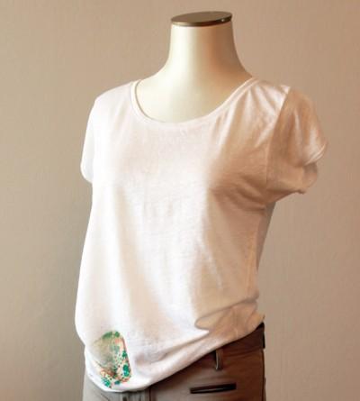 T- shirt Kampy en Lin Blanc avec Motif Sérigraphié