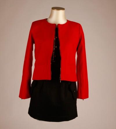 Veste Petite Taille Zippée Rouge Sutho